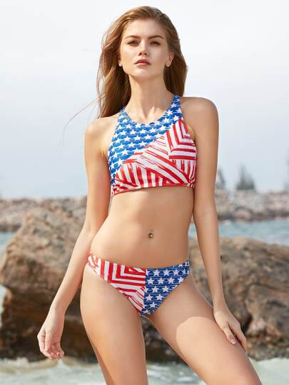 Blue And Red Star Print Racer Back Bikini Set