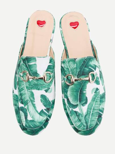 Tropical Pattern Loafer Mules