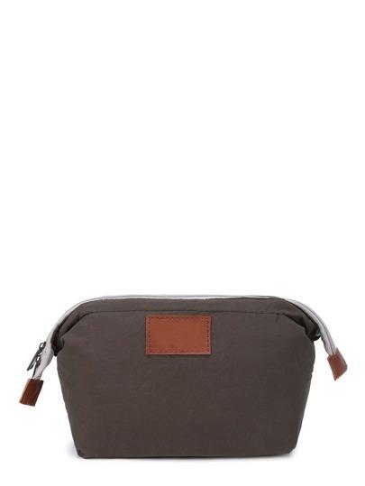 حقيبة لمكياج جلد صناعي بسوستة