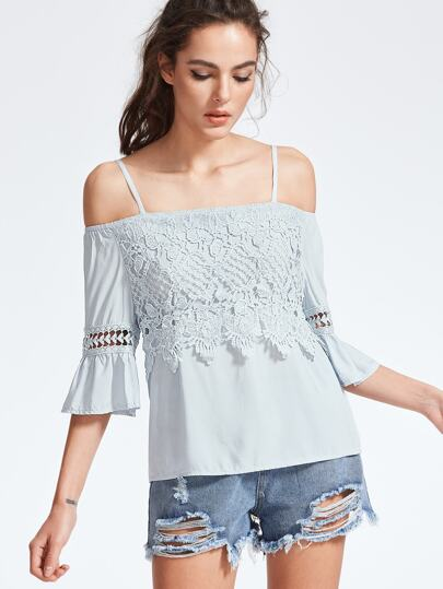 Blue Cold Shoulder Contrast Crochet Trim Top