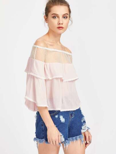 Rosa Off The Shoulder Contrasto Mesh Blouse