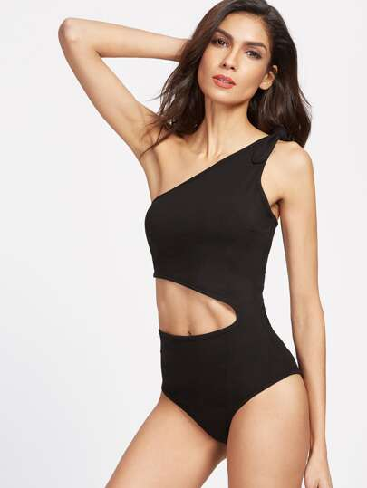 Bow Tie One Shoulder Cutout Bodysuit