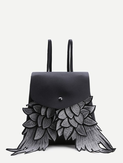 Black Wings Design PU Sac à dos Flap