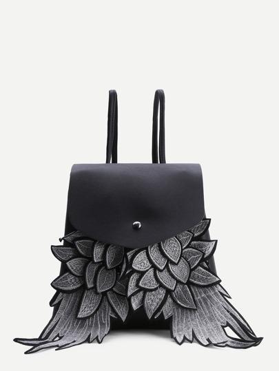 Mochila de pu con solapa con doseño de alas - negro