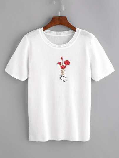 Camiseta tejida estampada de mano con rosa