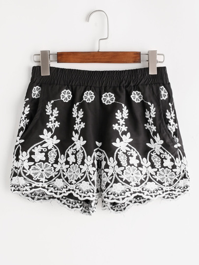 Embroidered Elastic Waist Shorts