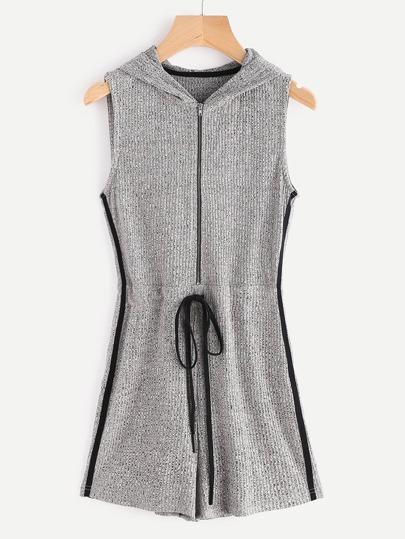 Romper tricot marleté à nervures zippé sur côté à rayure à capuche -gris