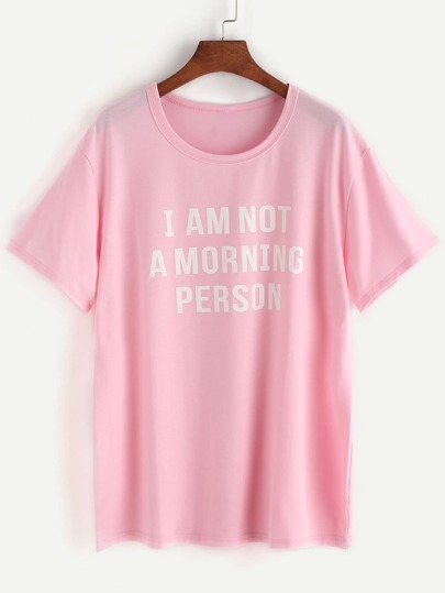 Tee-shirt rose d'impression de slogan