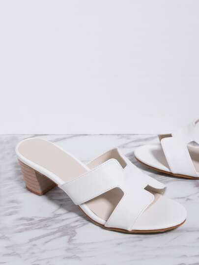 White Cutout Detail Chunky Heeled Sandals