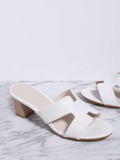 Sandales à talons découpé blanc