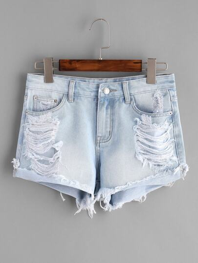 Wash Denim-Shorts-Effekt - blau