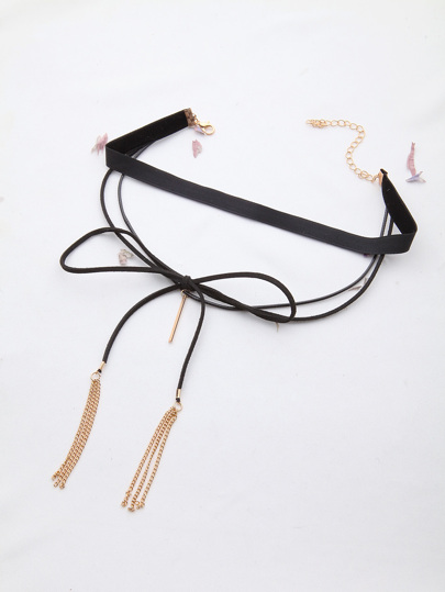 Black Warp Choker With Tassel