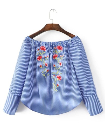 Boat Neck Vertical Striped Embroidery Blouse