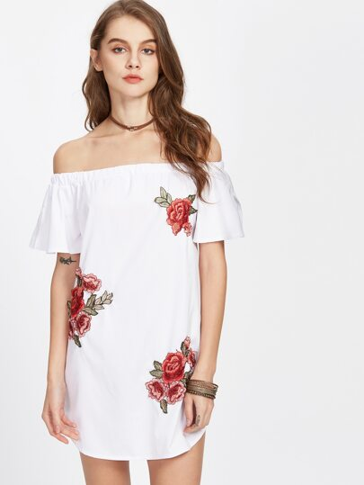 Split Sleeve Appliques Curved Hem Dress