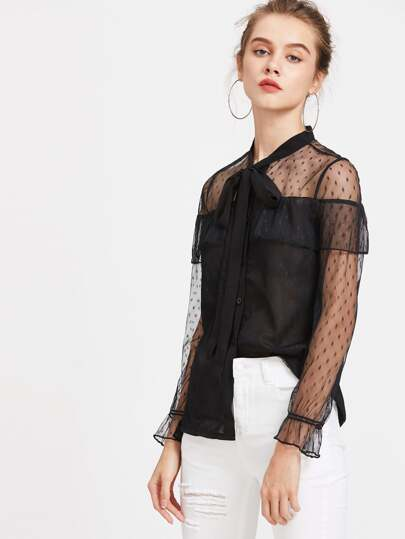 Tie Neck Contrast Lace Frill Blouse