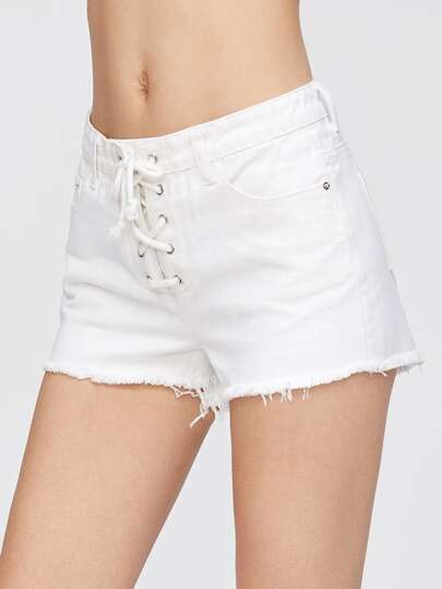 Short en denim dentelle - blanc