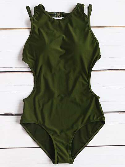 Army Green Side ritaglio sexy Monokini