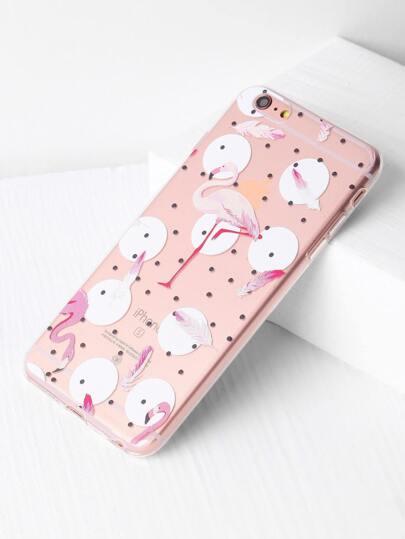 Funda para iPhone 6 Plus/6s Plus transparente de lunares con estampado de flamingo