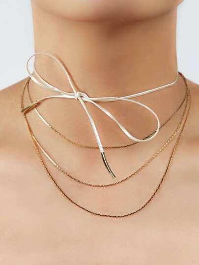 Skinny Satin Tie Chain Choker WHITE