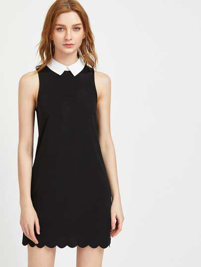 Contrast Collar Scallop Hem Dress