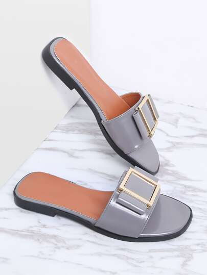 Grey Metal Detail Patent Leather Slider Sandals