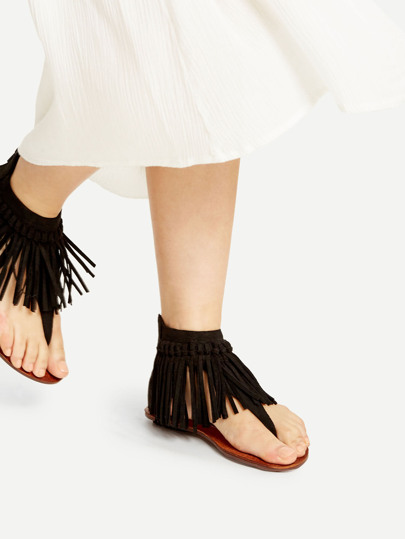 Black Fringe Design Thong Sandals