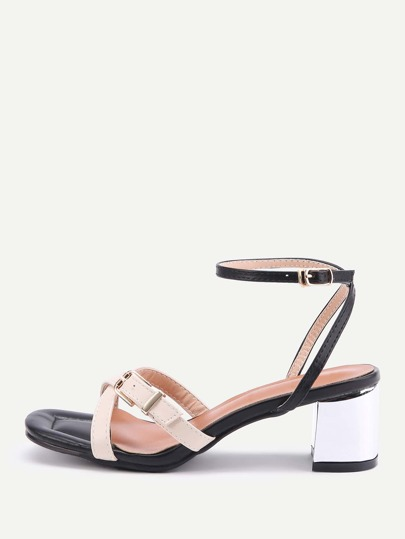 Two Tone Buckle Strap Block Heeled Sandals