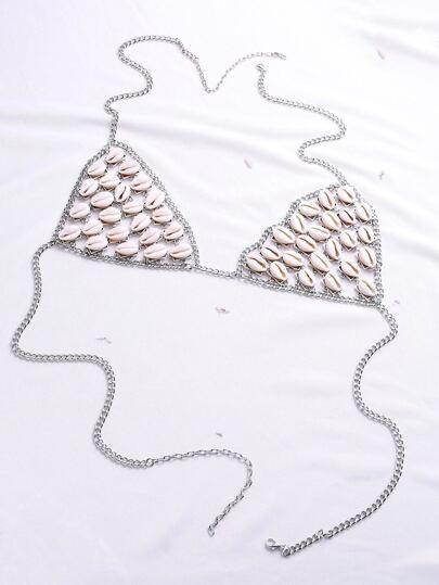 Cadena de cuerpo con diseño de concha - plateado
