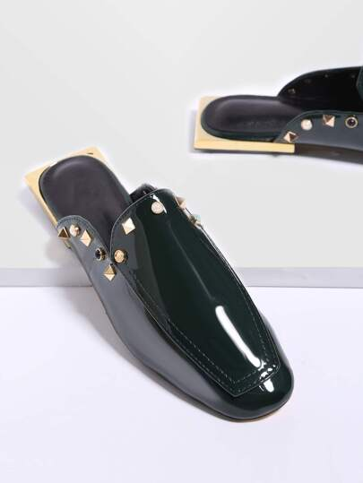 Dark Green Studded Square Toe PU Loafer Slippers