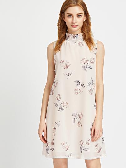Albicocca stampa floreale buco della serratura indietro Dress