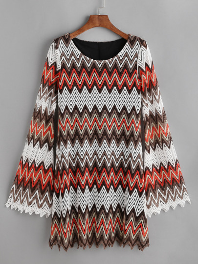 abito crochet Hollow con motivo chevron - multicolore