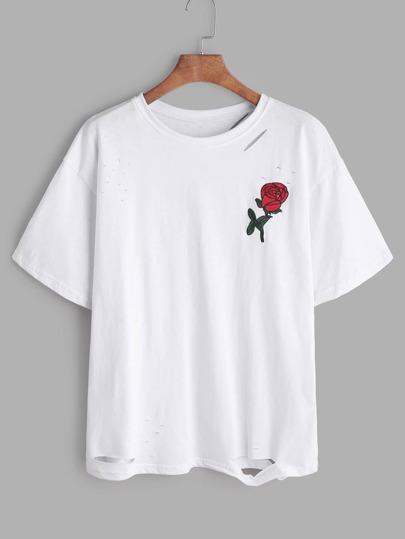 Camiseta rota con bordado de rosa - blanco