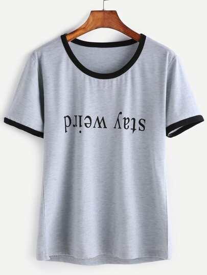 Grigio contrasto Lettera Trim Stampa T-shirt