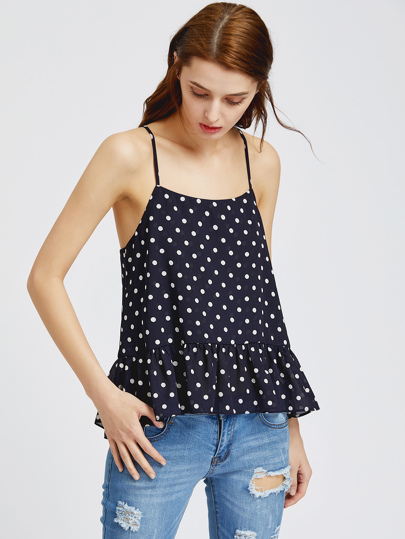 Polka dot top volants - marine