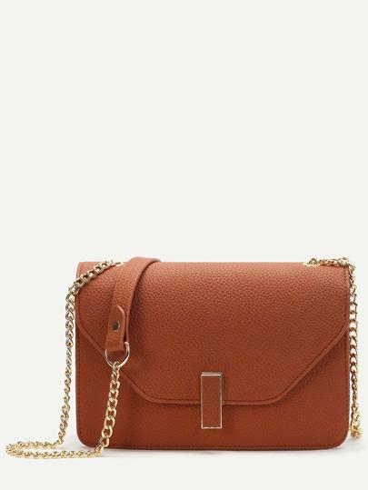 Khaki Flap PU Shoulder Bag