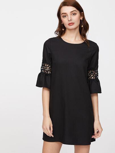 Crochet Insert Ruffle Sleeve Buttoned Keyhole Back Tunic Dress