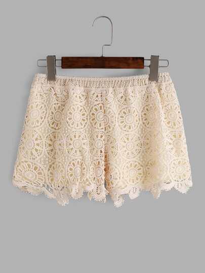 Shorts de croché con encaje - albaricoque