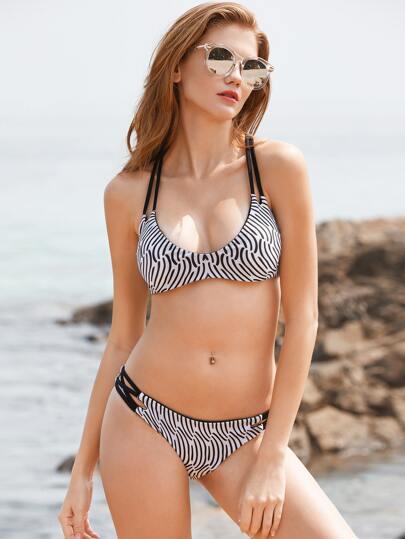 Sets de bikini de espalda con tiras con abertura estampado mixto