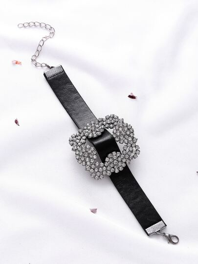 Black Faux Leather Rhinestone Buckle Bracelet