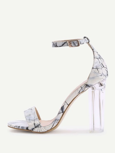 Marble Print Patent Leather Two Part Heeled Sandals