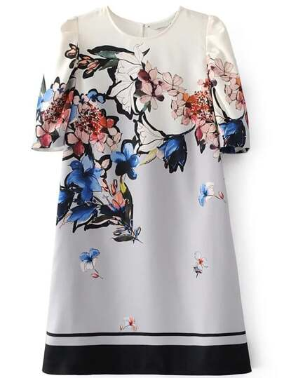 Flower Print Contrast Hem Dress