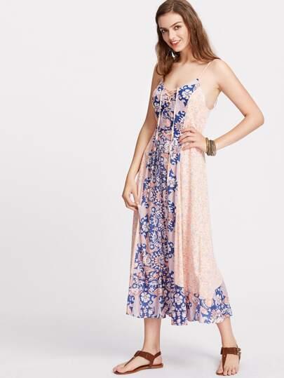 Floral Lace Up Plunge Neck Paneled Cami Dress