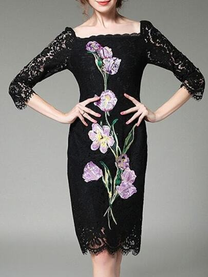 Black Boat Neck Flowers Embroidered Lace Dress