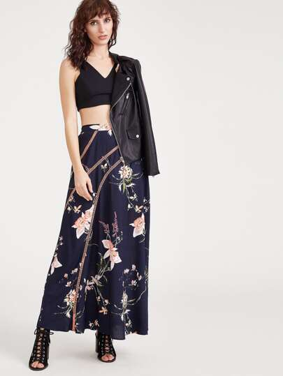Flower Print Eyelet Crochet Detail Maxi Skirt