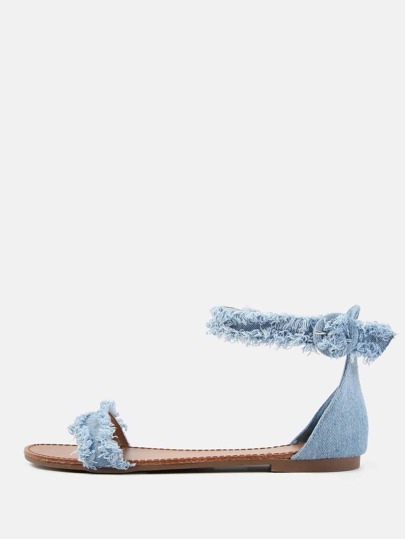 Frayed Denim Flat Sandals BLUE DENIM