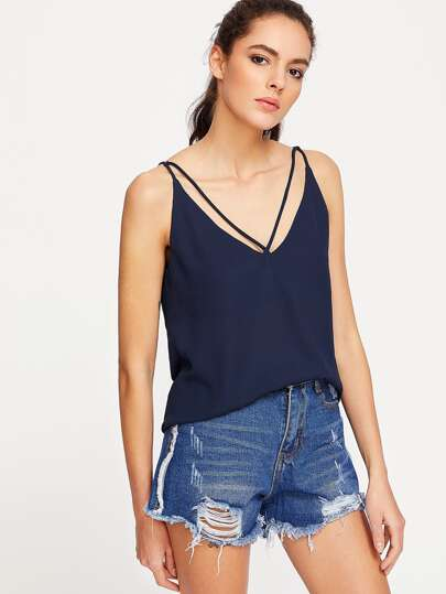 Strappy Double V Neck Cami Top