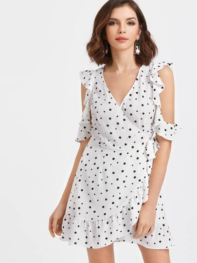 White Polka Dot Open Shoulder Ruffle Trim Wrap Dress