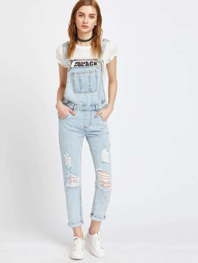 Light Blue Ripped Bleach Wash Cuffed Overall Jeans