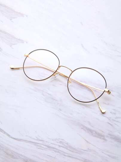Black And Gold Frame Round Glasses