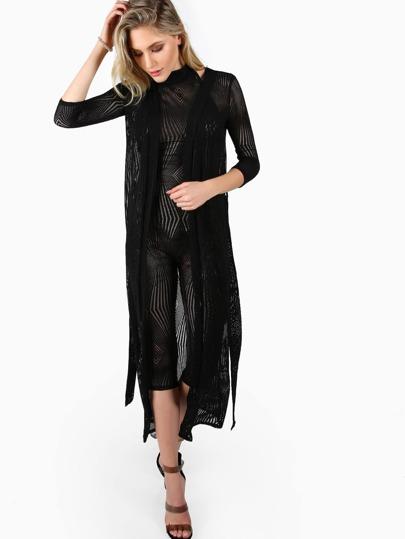 Fishnet Patterned Cardigan BLACK